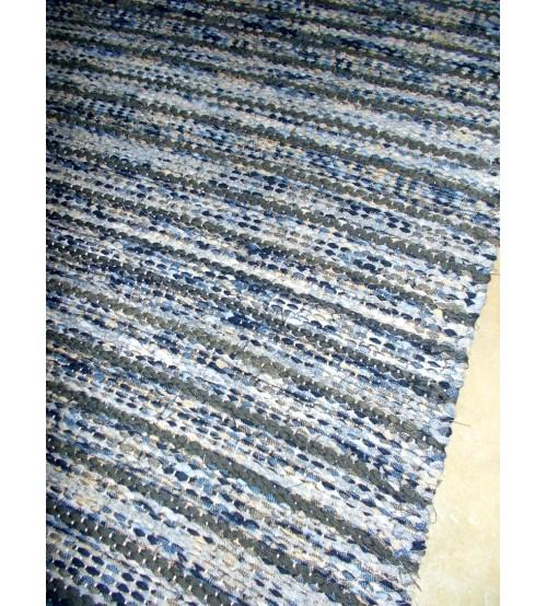 Vászon rongyszőnyeg kék, szürke 65 x 160 cm