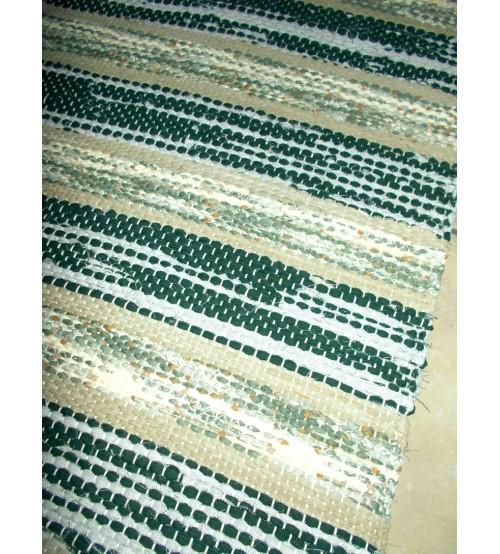 Vászon rongyszőnyeg zöld, nyers 75 x 130 cm