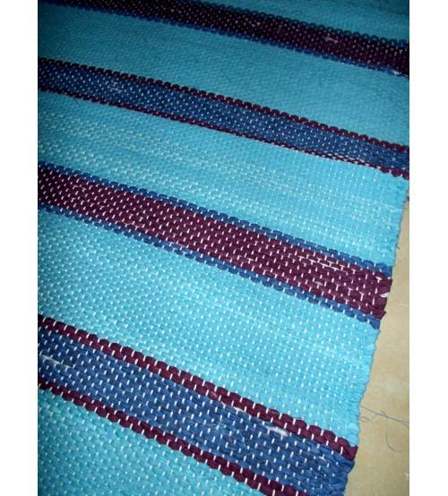 Vászon rongyszőnyeg kék, lila 75 x 150 cm