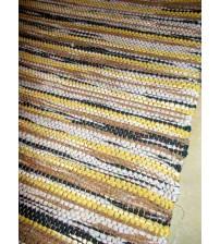 Vászon rongyszőnyeg szürke, barna, sárga 70 x 150 cm