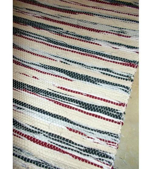 Vászon rongyszőnyeg nyers, szürke, bordó 70 x 200 cm