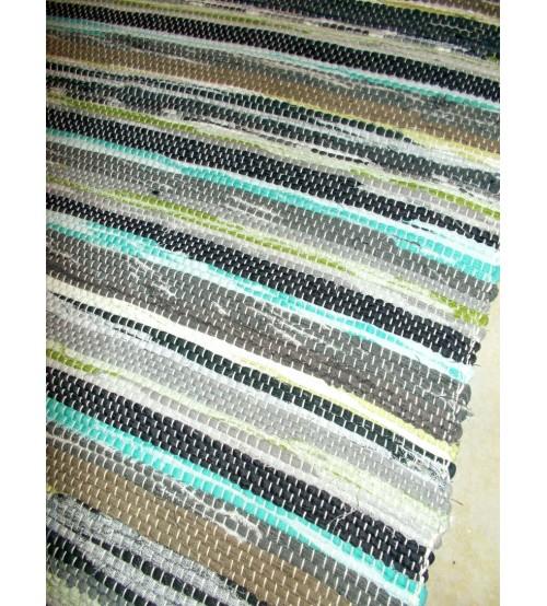 Vászon rongyszőnyeg szürke, barna, kék 70 x 100 cm
