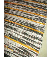Vászon rongyszőnyeg szürke, sárga 70 x 150 cm