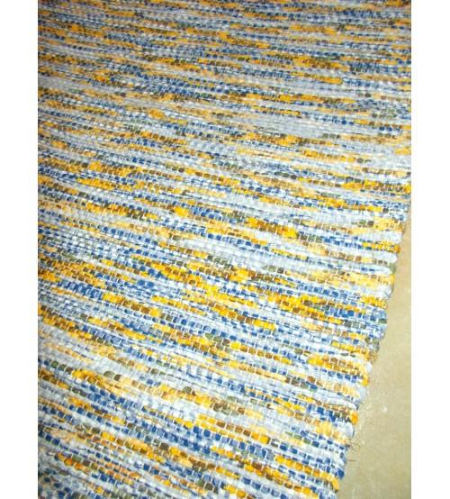 Vászon rongyszőnyeg kék, sárga 70 x 100 cm