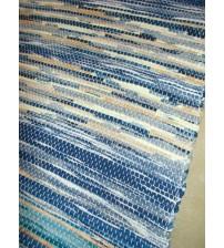 Vászon rongyszőnyeg kék, barna 70 x 100 cm