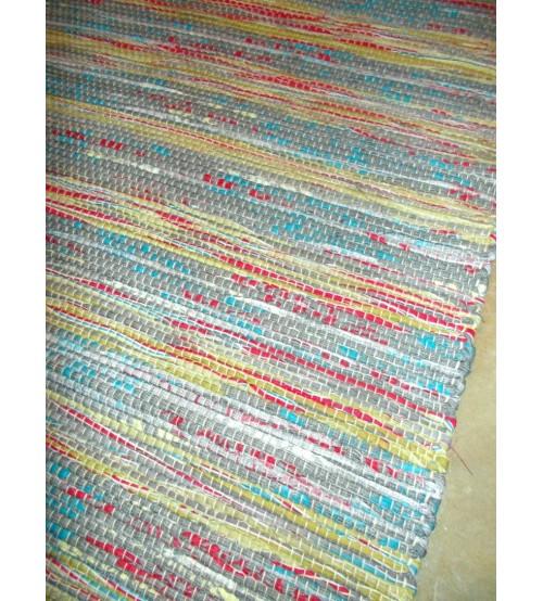 Vászon rongyszőnyeg zöld, piros, kék 70 x 100 cm