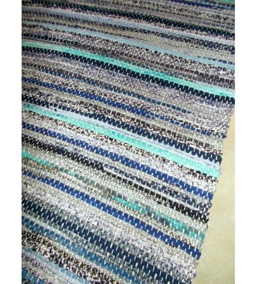 Vászon rongyszőnyeg kék 70 x 150 cm