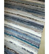 Vászon rongyszőnyeg kék, szürke, barna 70 x 150 cm