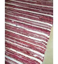 Vászon rongyszőnyeg bordó, fehér 70 x 150 cm