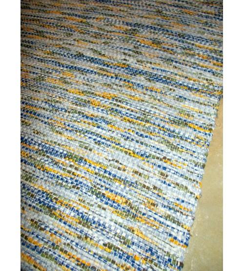 Vászon rongyszőnyeg kék, sárga 70 x 200 cm