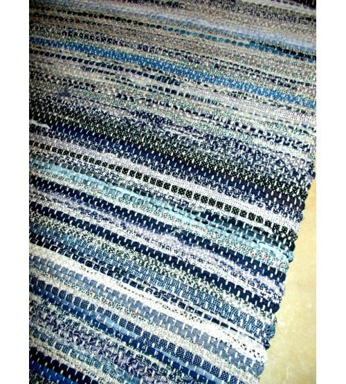 Vászon rongyszőnyeg kék, szürke 70 x 200 cm