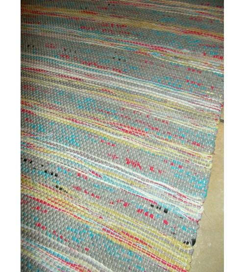 Vászon rongyszőnyeg zöld, piros, kék 70 x 150 cm
