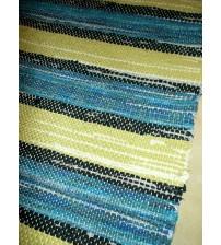 Vászon rongyszőnyeg zöld, kék 70 x 180 cm