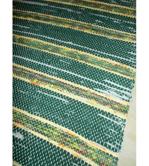 Vászon rongyszőnyeg zöld, sárga 70 x 165 cm
