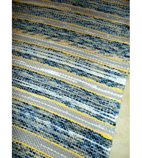 Vászon rongyszőnyeg kék, szürke, sárga 75 x 160 cm