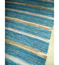 Vászon rongyszőnyeg kék, barna 70 x 175 cm