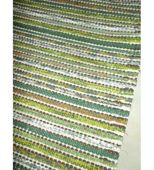 Vászon rongyszőnyeg zöld, barna 60 x 165 cm