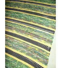 Vászon rongyszőnyeg zöld, sárga, szürke 70 x 160 cm
