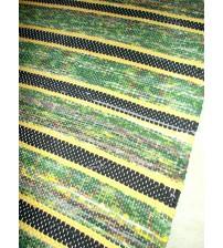 Vászon rongyszőnyeg zöld, sárga, szürke 70 x 175 cm