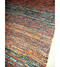 Vászon rongyszőnyeg szürke, sárga, kék 75 x 165 cm