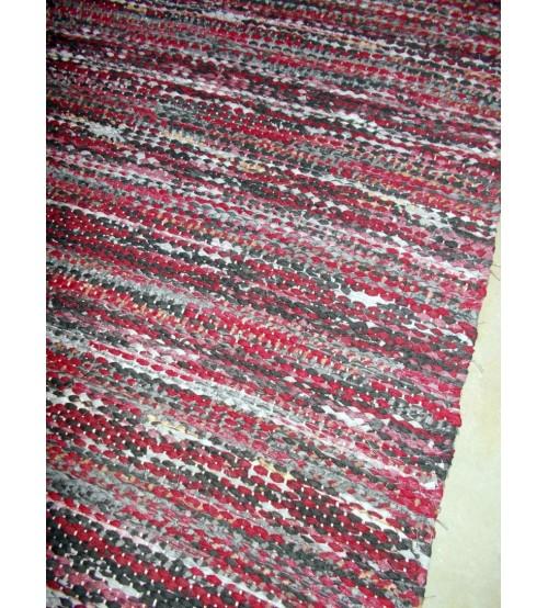 Vászon rongyszőnyeg bordó, szürke 75 x 200 cm