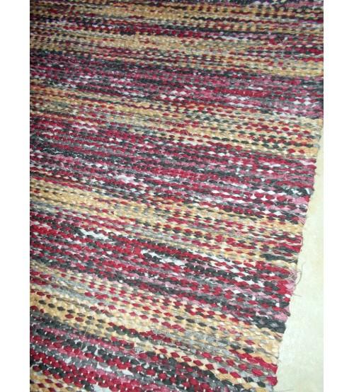 Vászon rongyszőnyeg bordó, szürke, nyers 75 x 185 cm