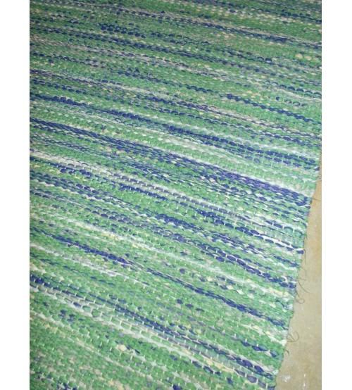 Vászon rongyszőnyeg zöld, lila 75 x 160 cm