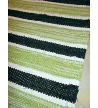 Vászon rongyszőnyeg zöld, fekete, fehér 70 x 165 cm