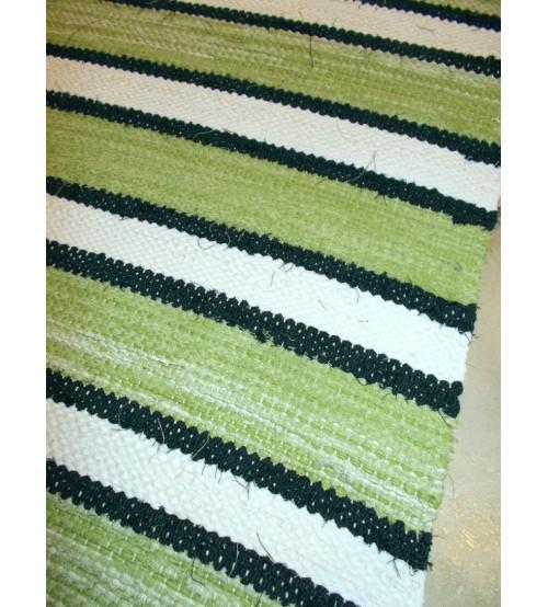 Vászon rongyszőnyeg zöld, fekete, fehér 70 x 120 cm