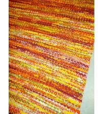 Vászon rongyszőnyeg sárga, bordó 75 x 95 cm