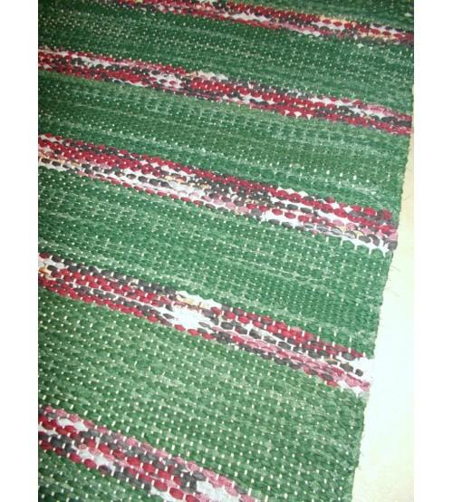 Vászon rongyszőnyeg zöld, bordó 75 x 170 cm