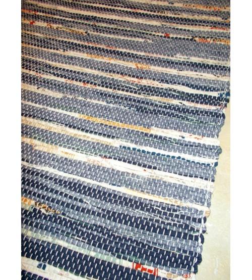 Vászon rongyszőnyeg kék, nyers 70 x 150 cm