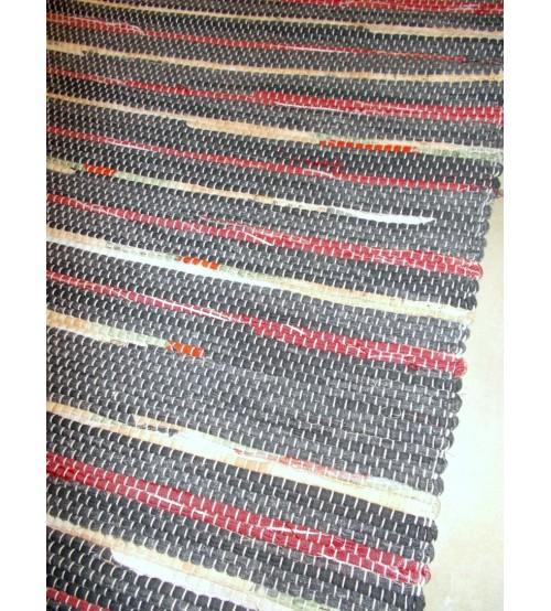 Vászon rongyszőnyeg szürke, bordó, nyers 70 x 200 cm