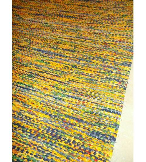 Vászon rongyszőnyeg sárga, kék 75 x 180 cm