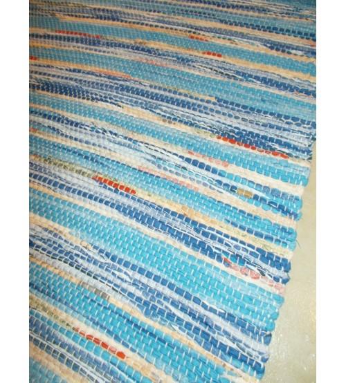 Vászon rongyszőnyeg kék 70 x 180 cm