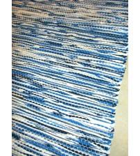 Vászon rongyszőnyeg kék, fehér 70 x 80 cm