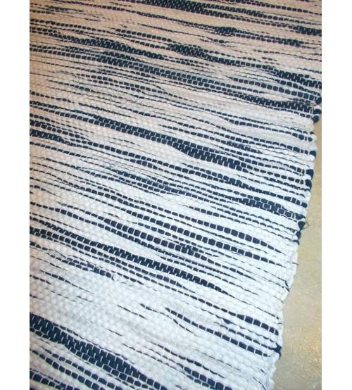 Vászon rongyszőnyeg fehér, kék 70 x 100 cm