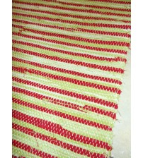 Vászon rongyszőnyeg zöld, piros 70 x 100 cm