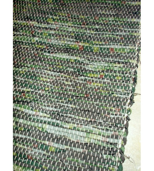 Vászon rongyszőnyeg zöld 70 x 100 cm