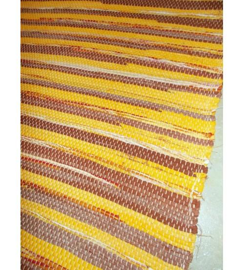 Vászon rongyszőnyeg sárga, barna 70 x 100 cm