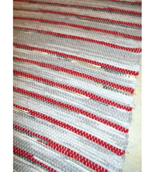 Vászon rongyszőnyeg szürke, piros 70 x 100 cm