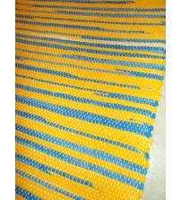 Vászon rongyszőnyeg sárga, kék 70 x 95 cm