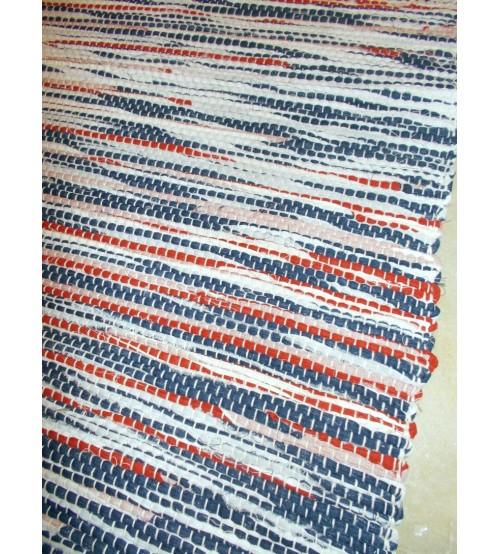 Vászon rongyszőnyeg kék, fehér, piros 70 x 100 cm