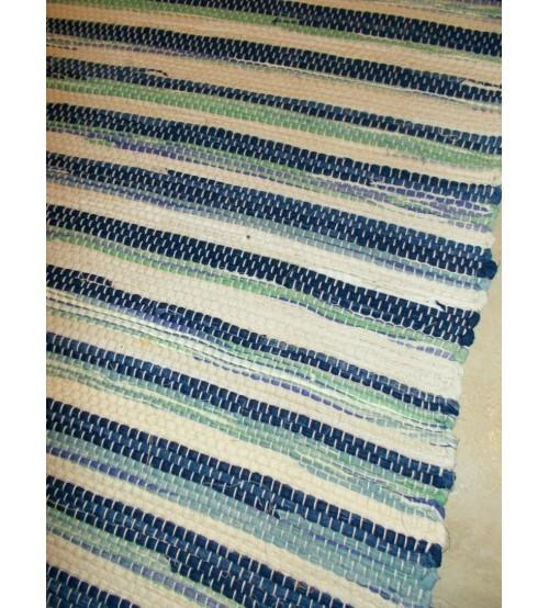 Vászon rongyszőnyeg kék, nyers, zöld 70 x 100 cm