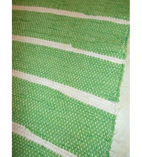 Vászon rongyszőnyeg zöld, nyers 65 x 145 cm