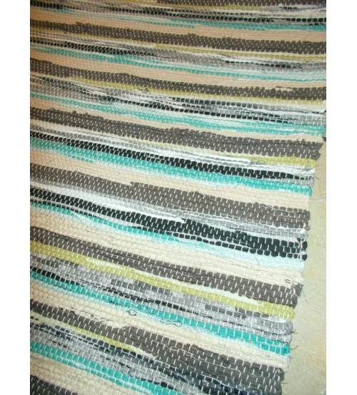 Vászon rongyszőnyeg kék, szürke, nyers 70 x 150 cm