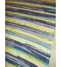 Vászon rongyszőnyeg kék, sárga 70 x 150 cm