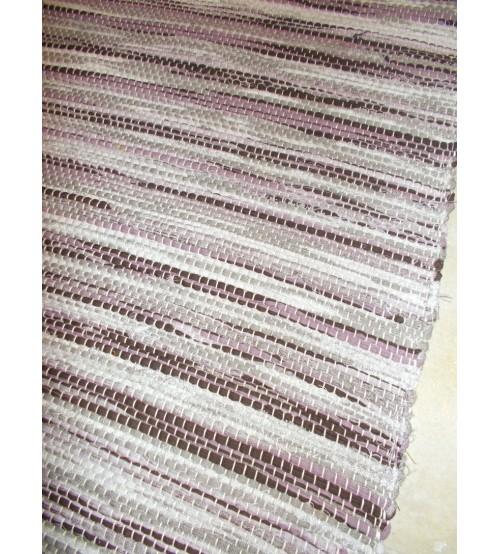Vászon rongyszőnyeg szürke, lila 70 x 150 cm