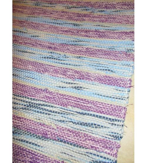 Vászon rongyszőnyeg lila, kék 70 x 150 cm