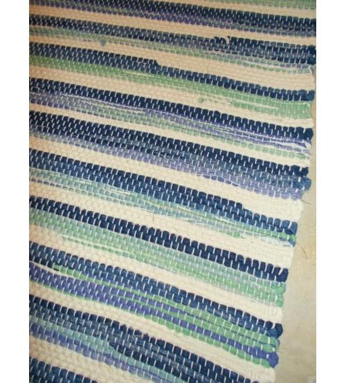 Vászon rongyszőnyeg kék, zöld, nyers 70 x 150 cm